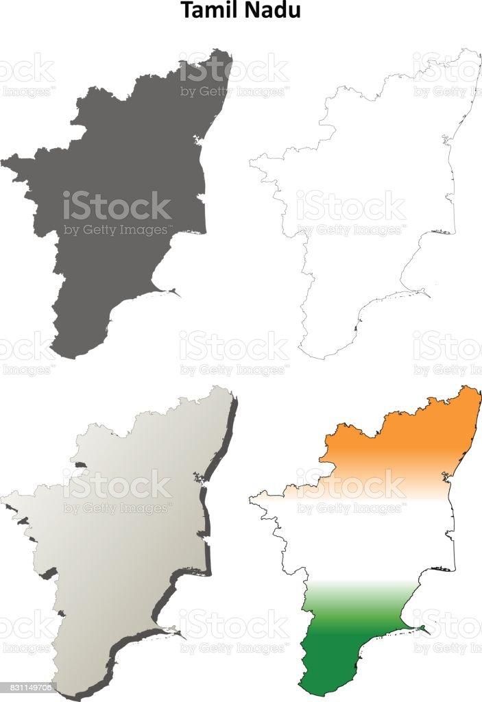 Tamil Nadu Blank Outline Map Set Stock Vector Art & More Images of ...