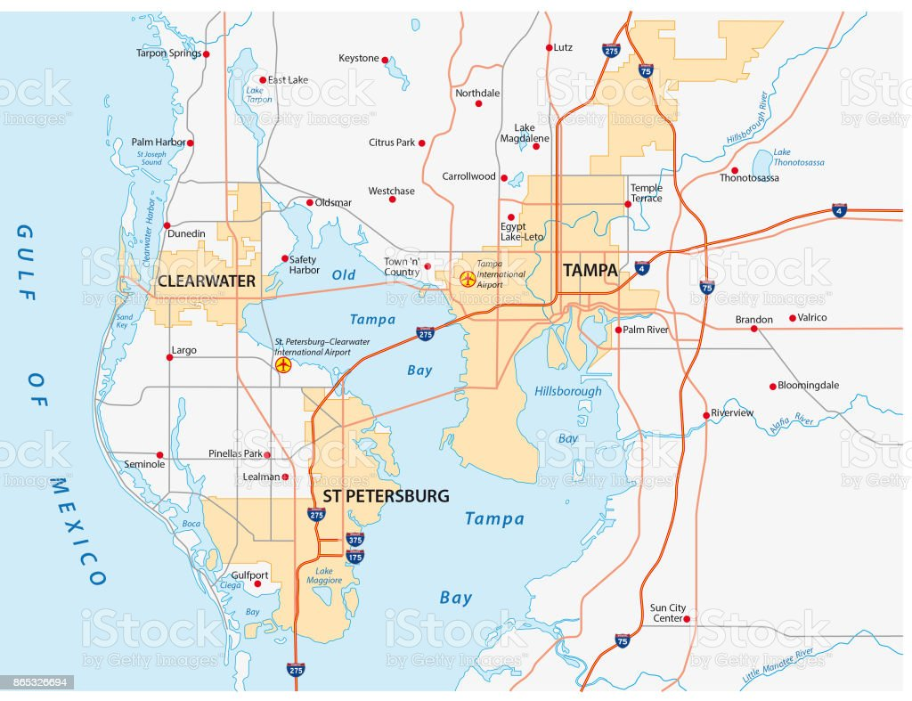 Tampa Bay Area Road Map Stock Illustration Download Image Now Istock
