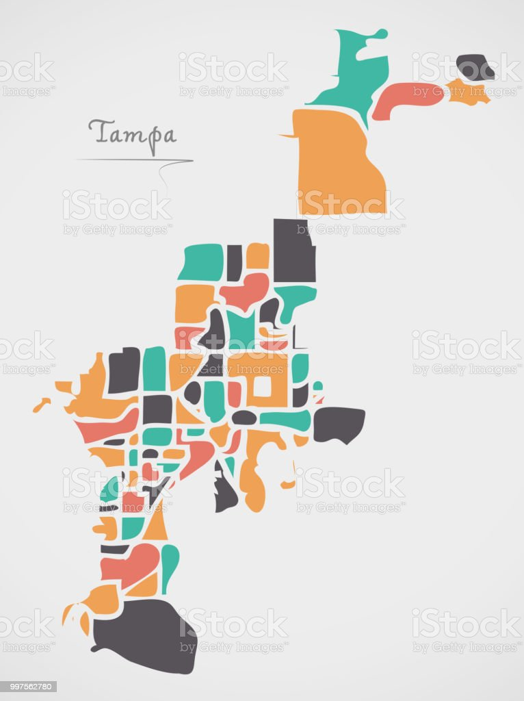 Tampa Florida Map State.Tampa Florida Map With Neighborhoods And Modern Round Shapes Stock