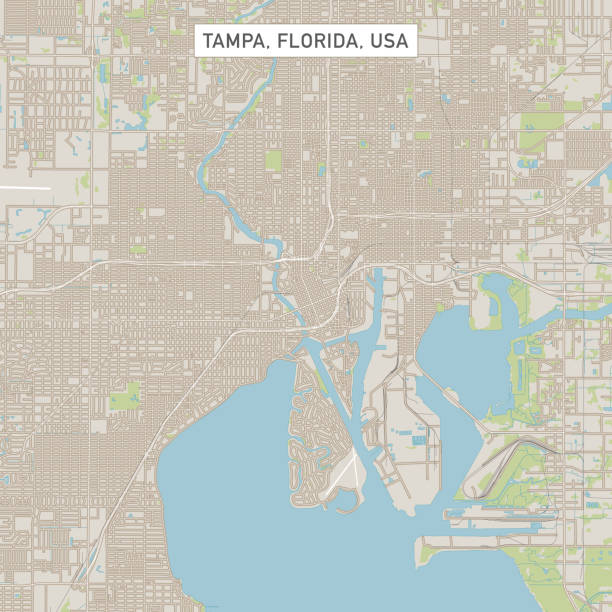 Tampa Florida US City Street Map Vector Illustration of a City Street Map of Tampa, Florida, USA. Scale 1:60,000. All source data is in the public domain. U.S. Geological Survey, US Topo Used Layers: USGS The National Map: National Hydrography Dataset (NHD) USGS The National Map: National Transportation Dataset (NTD) vector map green stock illustrations
