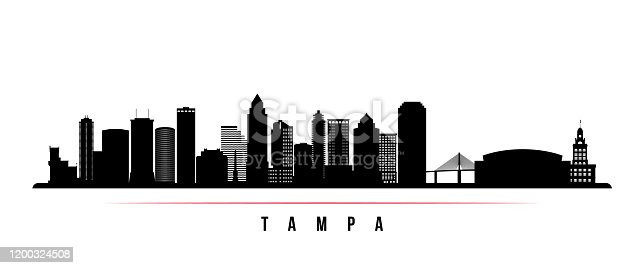 istock Tampa skyline horizontal banner. Black and white silhouette of Tampa, Florida. Vector template for your design. 1200324508