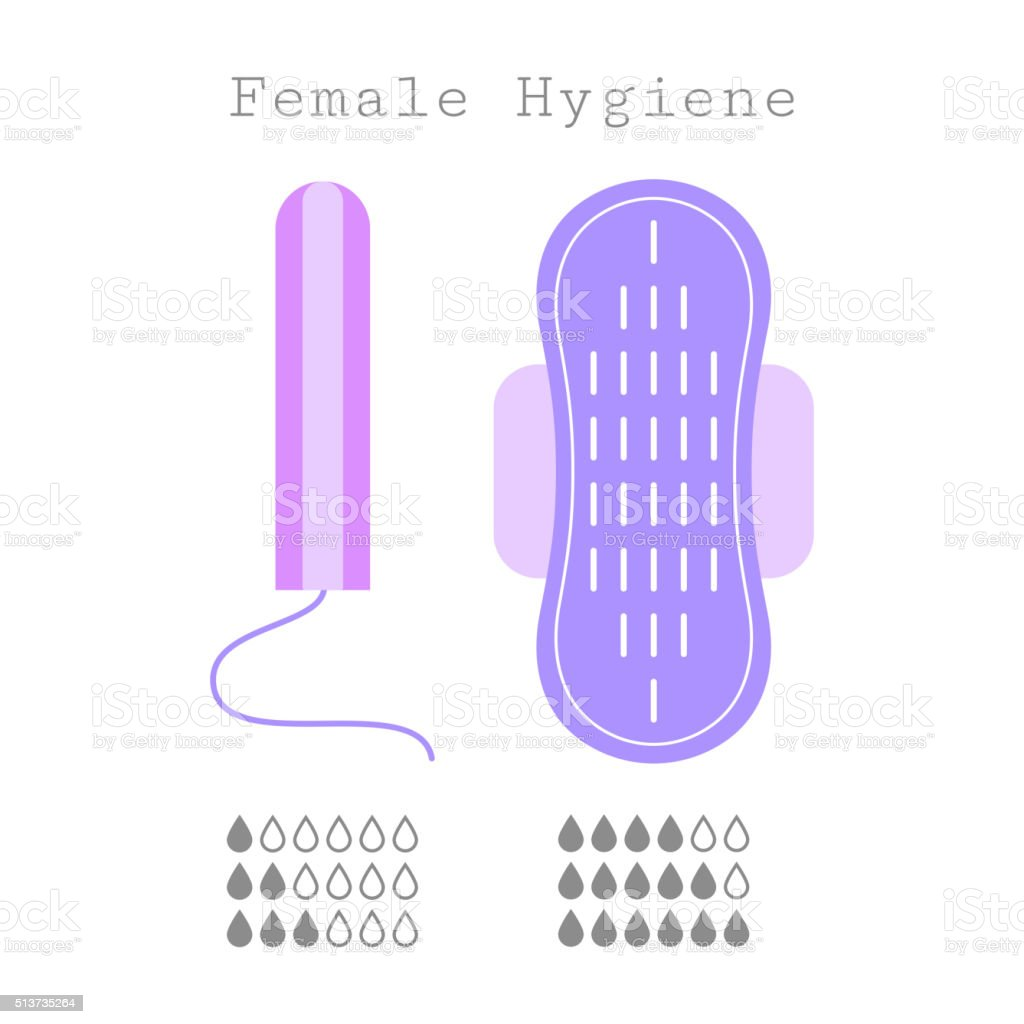 Tampon and strip, flat icons of feminine hygiene. Menstruation vector art illustration