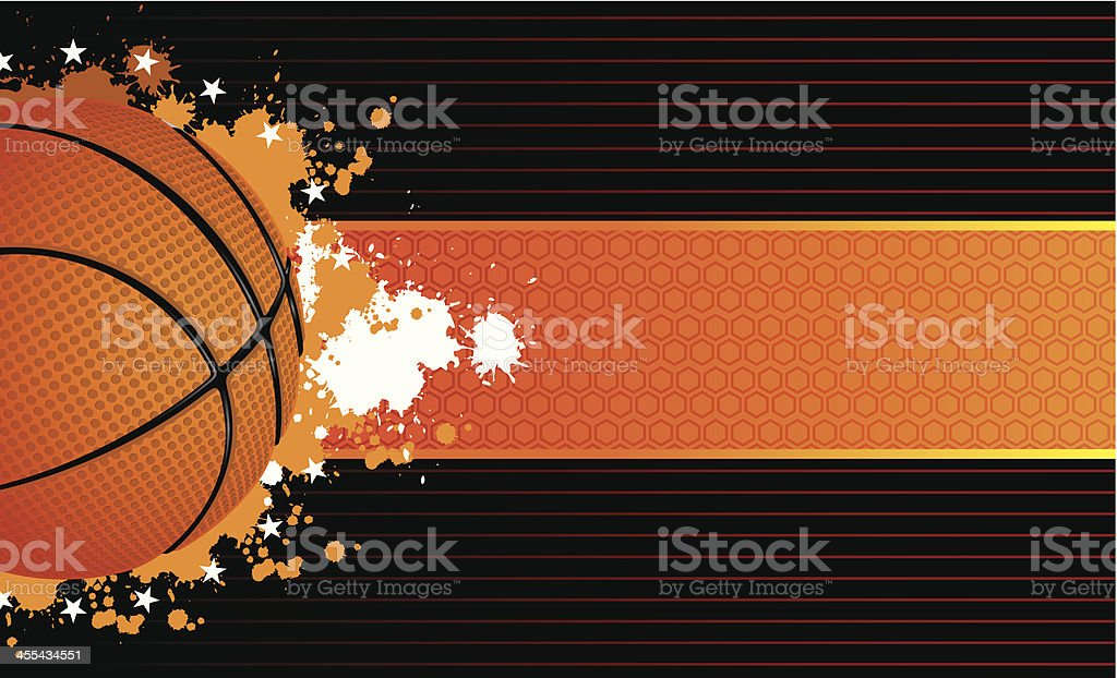 Tan colored banner with a basketball on a black background royalty-free stock vector art