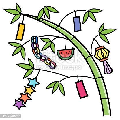 istock Tanabata decoration, bamboo decoration 1217348287