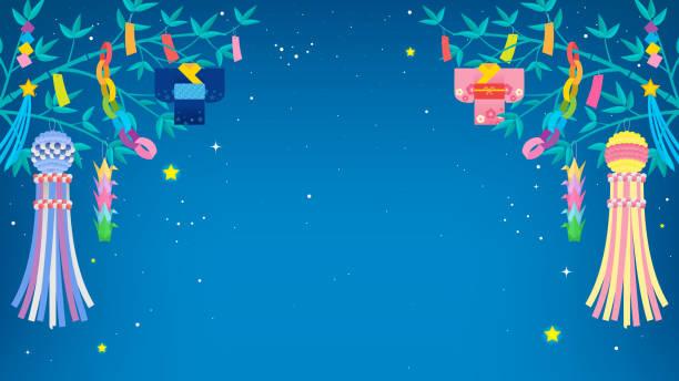 七夕まつり 背景ベクトルイラスト。竹の木と七夕の飾りと星空の夜空 - 七夕点のイラスト素材/クリップアート素材/マンガ素材/アイコン素材