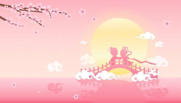 七夕や qixi 祭 (中国のバレンタインの日) ベクトル イラスト、祝う 7 月 7 日に牛飼いで織工の女の子の年次総会。 - 七夕点のイラスト素材/クリップアート素材/マンガ素材/アイコン素材