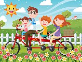 A Happy Family Cycling Tandem Bicycle