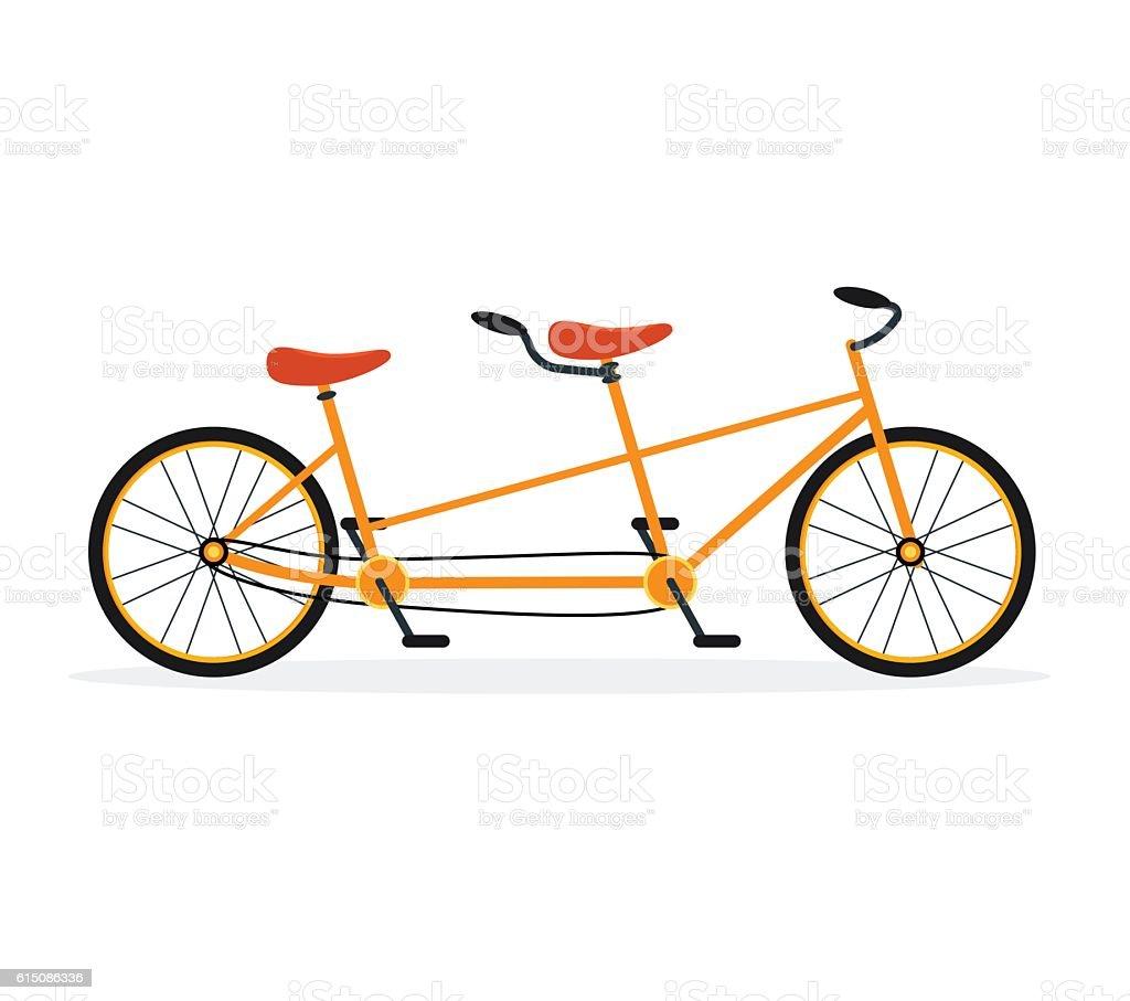 Tandem Bike Flat Vector Royalty Free Stock Art Amp