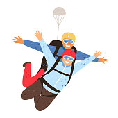 Tandem parachute jump. Parachuting with instructor and excited skydiver, professional skydiving training cartoon vector illustration