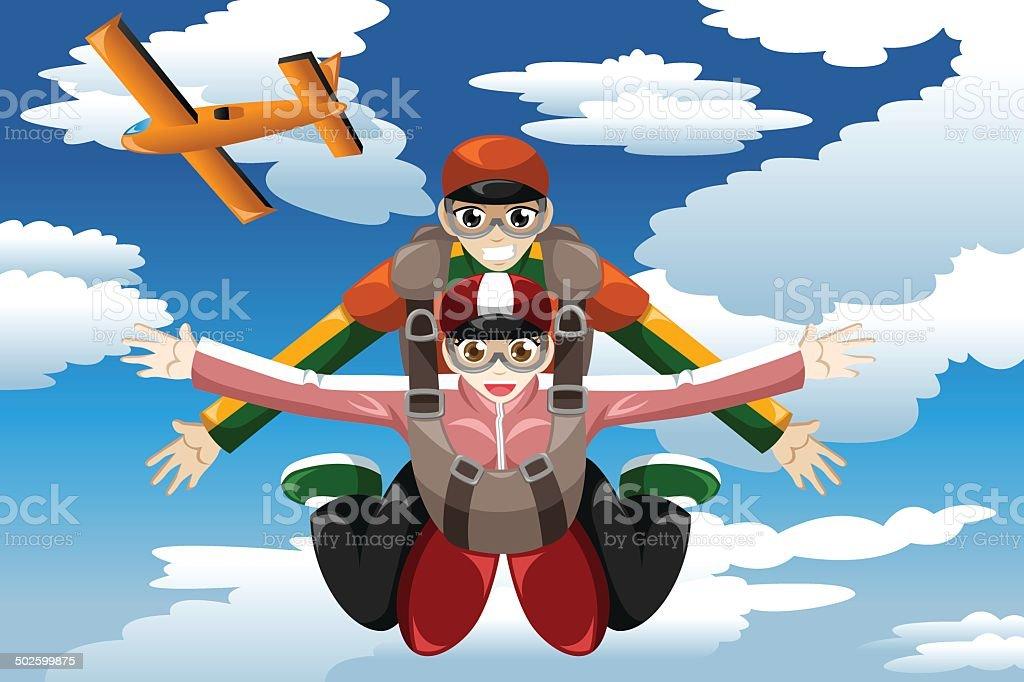 Tandem skydiving vector art illustration