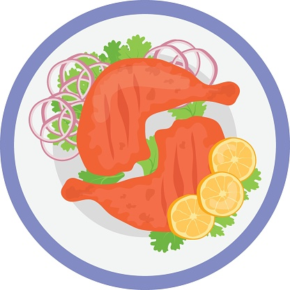 Tandoori Chicken with seasonal Veggies on Plate Concept, Clay Oven Roasted Chicken Icon, National Dish of Indian subcontinent Sign,Traditional cuisine Symbol, Gourmet food cooking and restaurant menu