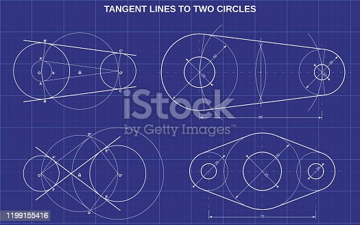 tangent lines to two circles on technic background