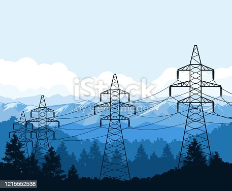 Tangent towers in mountains, high voltage power line pylons, power supply