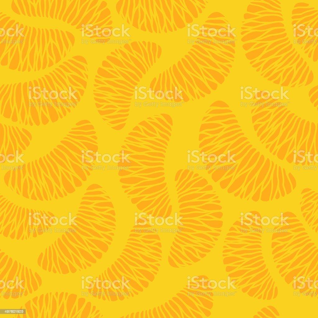 Tangerine segments seamless background. vector art illustration