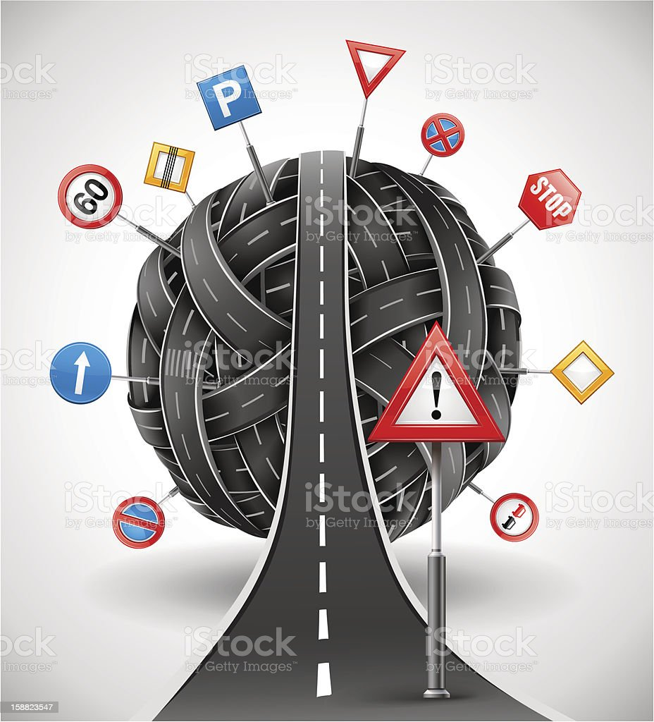 tangle of roads with signs royalty-free stock vector art