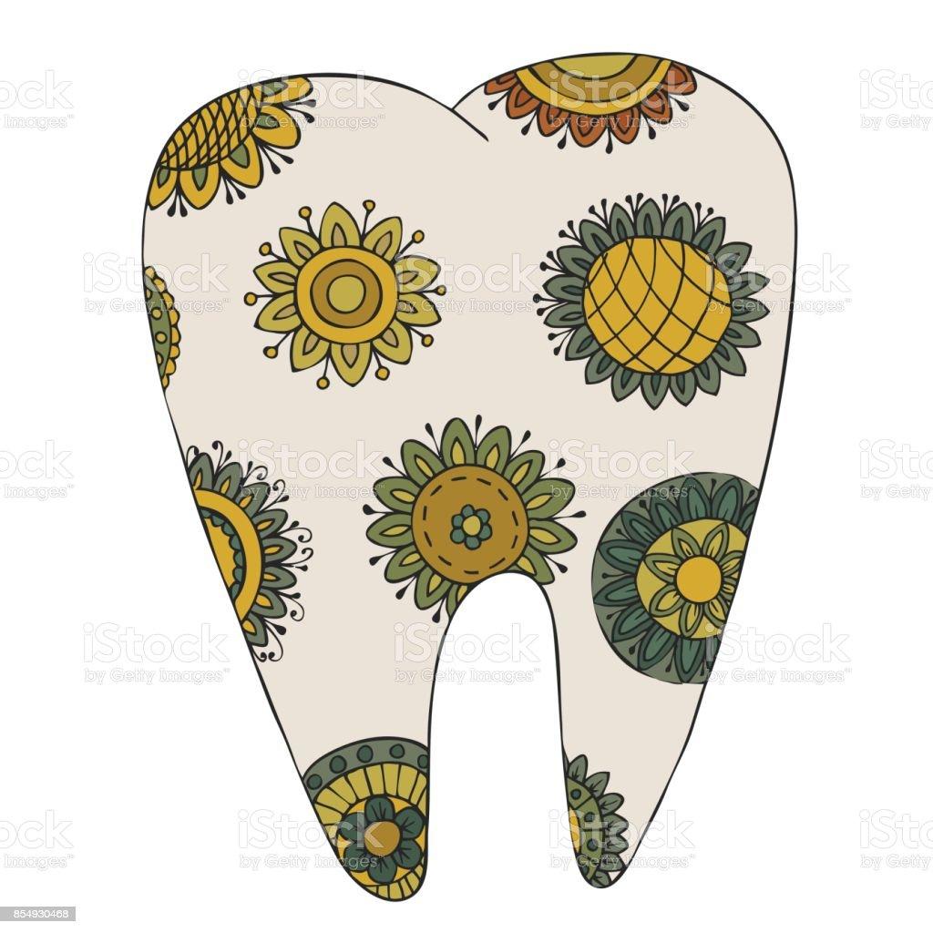 Dolaştırmak Desen Ve Doole Diş Stok Vektör Sanatı Ağıznin Daha