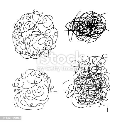 istock Tangled abstract scribble with hand drawn line. Doodle elements. Isolated sketch on white background. Vector illustration 1266165380