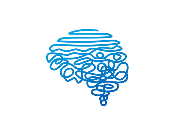 tangled blue wire in human brain shape vector illustration - therapist stock illustrations