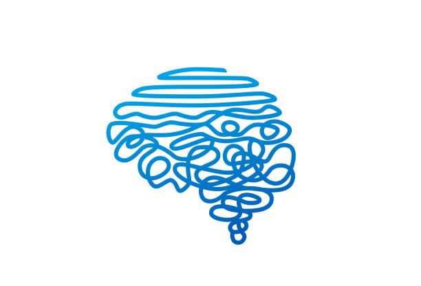 i̇nsan beyin şekli vektör illüstrasyon karışık mavi tel - therapist stock illustrations