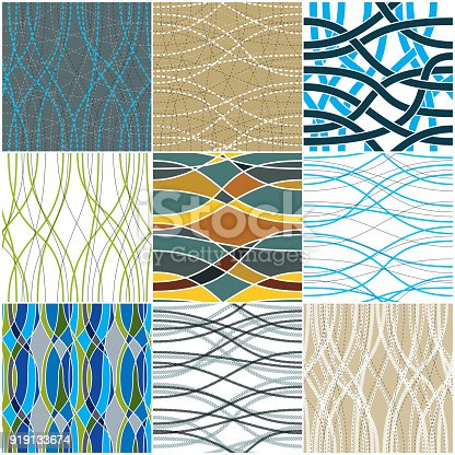 istock Tangled curvy lines seamless patterns set, vector repeat endless backgrounds collection, artistic stripes trendy tiling wallpaper motifs. Usable for fabric, wallpaper, wrapping, web and print. Colorful fashion fabric swatches. 919133674