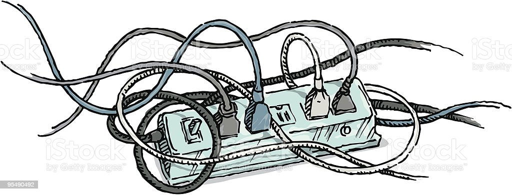 Cartoon Power Cord : Tangled electrical cords plugged into a power strip stock