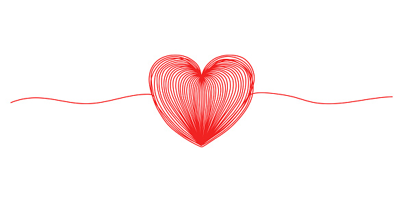 Tangled grunge round scribble hand drawn heart with thin line, divider shape. Vector illustration