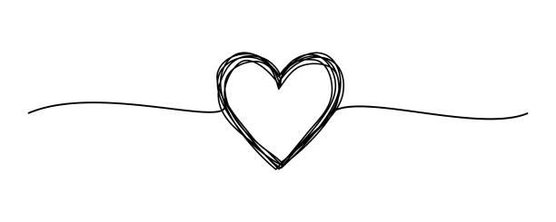 ilustrações de stock, clip art, desenhos animados e ícones de tangled grungy round scribble - coração