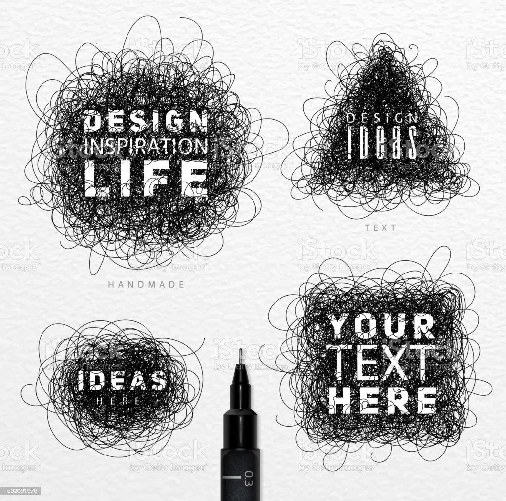 Tangled line black vector art illustration