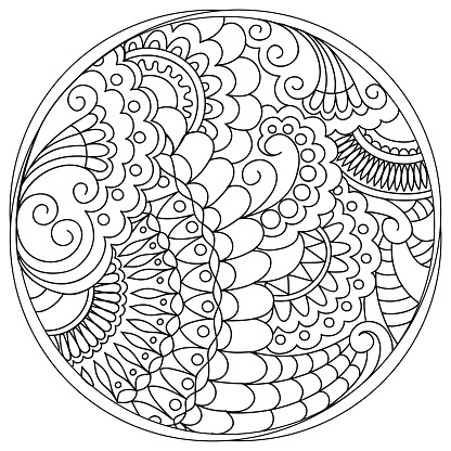 tangled mandalas and shapes in the circle stock
