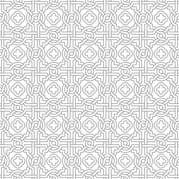 Tangled Pattern with Quatrefoils vector art illustration
