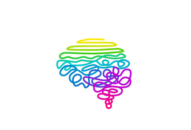 Tangled rainbow colored wire in brain shape vector illustration vector art illustration