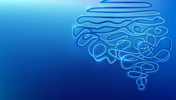 Tangled wire in human brain shape vector illustration vector art illustration