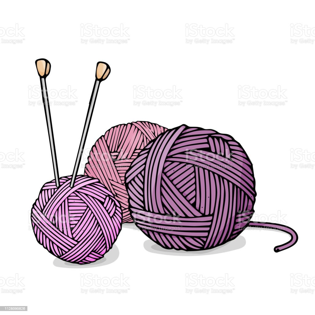 Tangles Of Different Colors Of Wool For Knitting And Knitting Needles Colorful Vector Illustration In Sketch Style Stock Illustration Download Image Now Istock