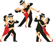 Tango Couple Tangoing Music Partner Dance Passion Seduction, vector illustration cartoon.