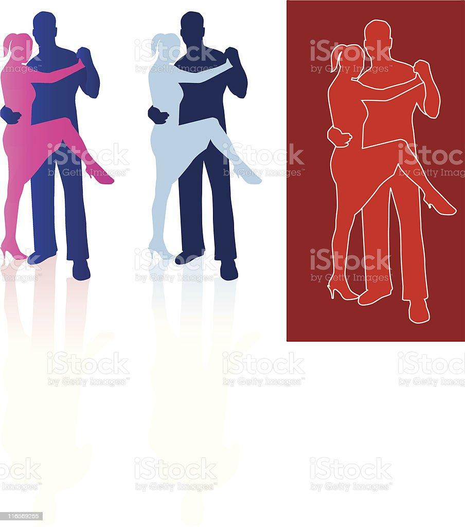 Tango dancers in silhouette royalty-free stock vector art