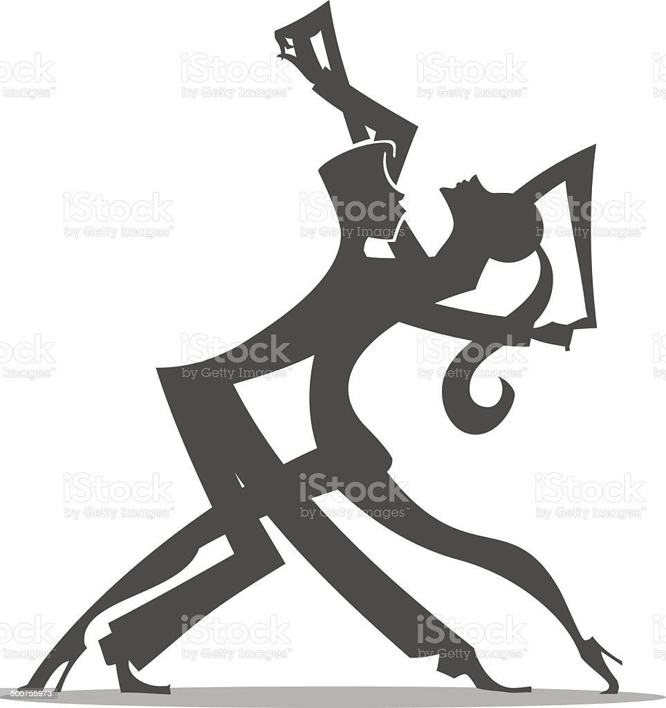 Silhouette di ballerini di Tango - illustrazione arte vettoriale