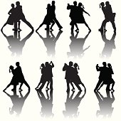A grouping of eight silhouette couples dancing the tango.
