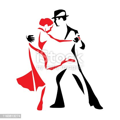 istock Tango dancing couple man and woman vector illustration 1163813274