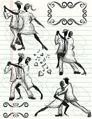 Doodle style, hand drawn couples dancing the tango on notebook paper with frames for text.