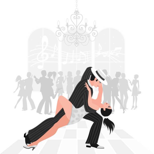 tango tanzen - ballsäle stock-grafiken, -clipart, -cartoons und -symbole