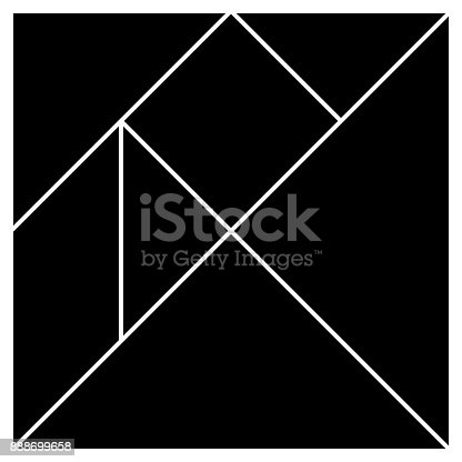istock Tangram base black square pieces vector illustration 888699658