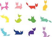 Tangram Cat Set    003