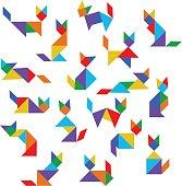 tangram cats set