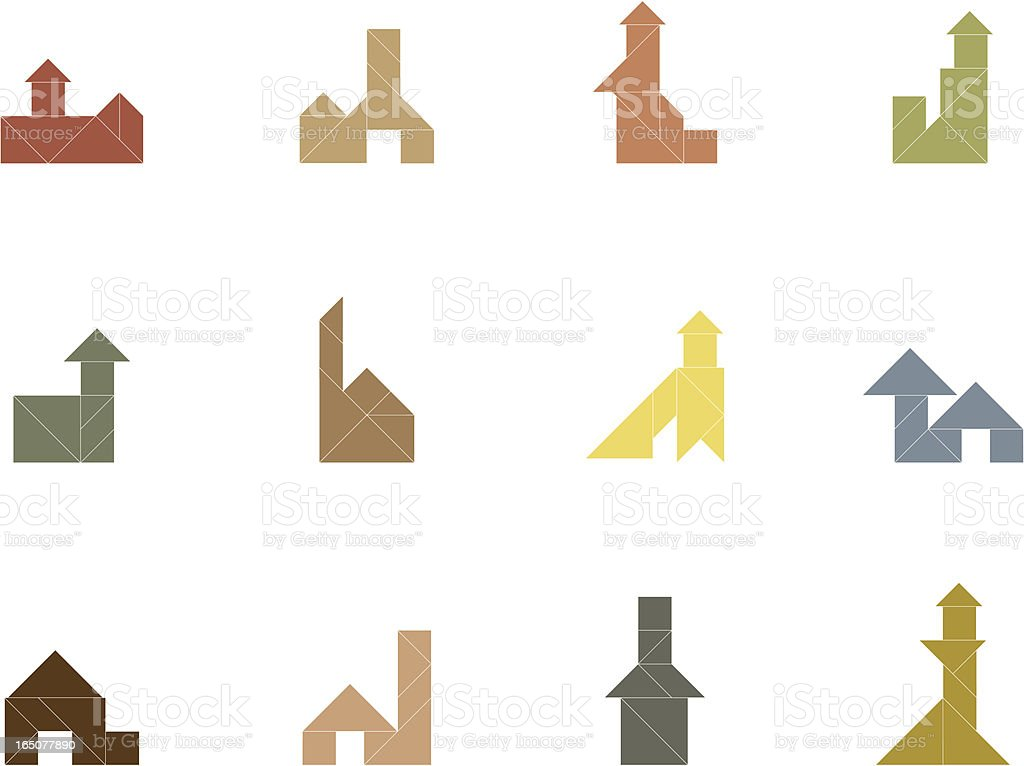 tangram house icon royalty free stock vector art
