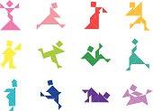 Tangram People Icon   001