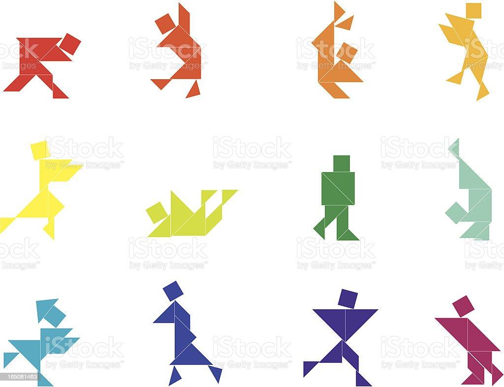 Tangram People Set | 008 royalty-free stock vector art