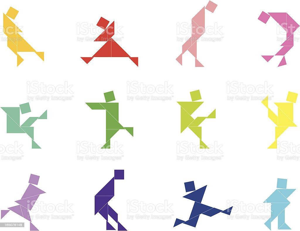 Tangram People Set   009 royalty-free stock vector art