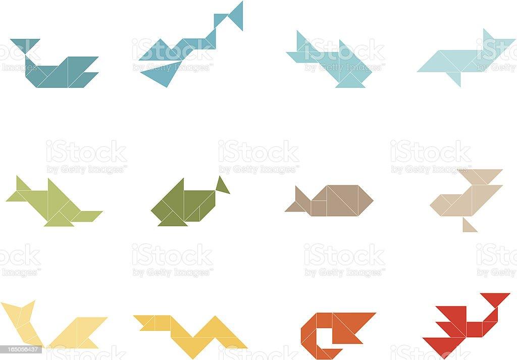 Tangram Sea Life Set royalty-free tangram sea life set stock vector art & more images of animal