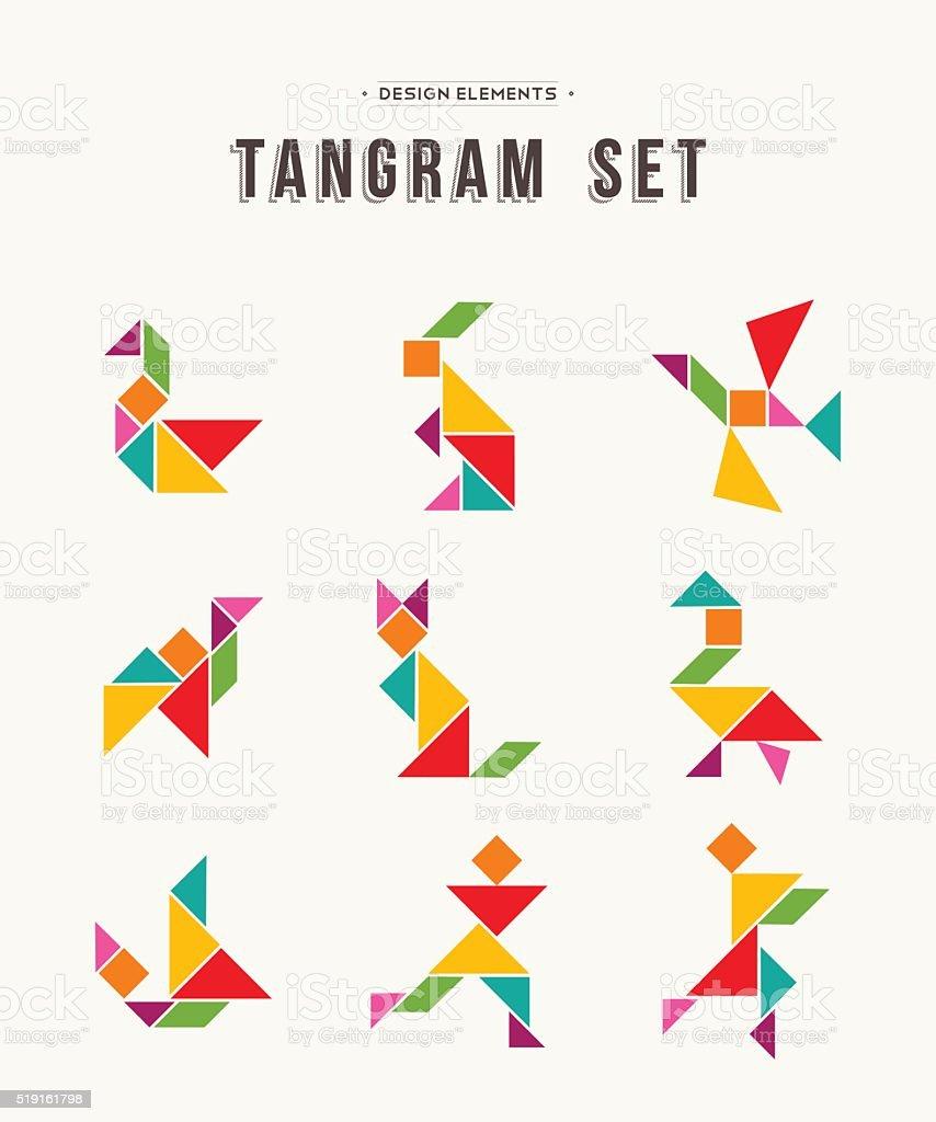 Tangram set creative art of colorful animal shapes vector art illustration
