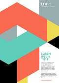 Geometric vector layout template (also suitable for posters and covers), based on tangram shapes in yellow, green, red, black and gray; including space for copy text.
